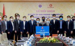 """Lễ tiếp nhận 20 tỷ đồng tài trợ nghiên cứu thử nghiệm lâm sàng vắc xin COVID-19 """"Made in"""" Việt Nam"""
